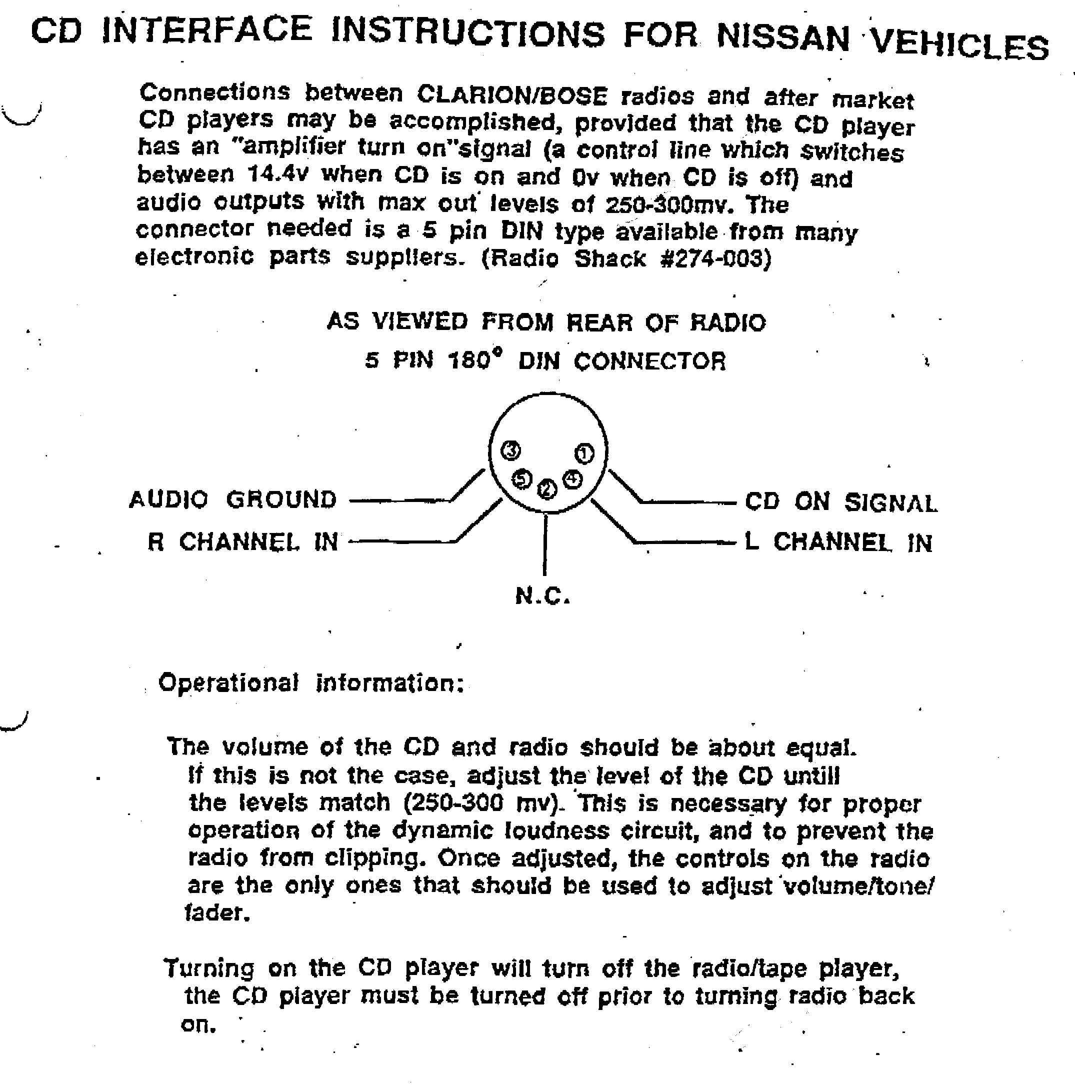 Car Audio Wire Diagram Codes Nissan    Infiniti - Factory Car Stereo Repair