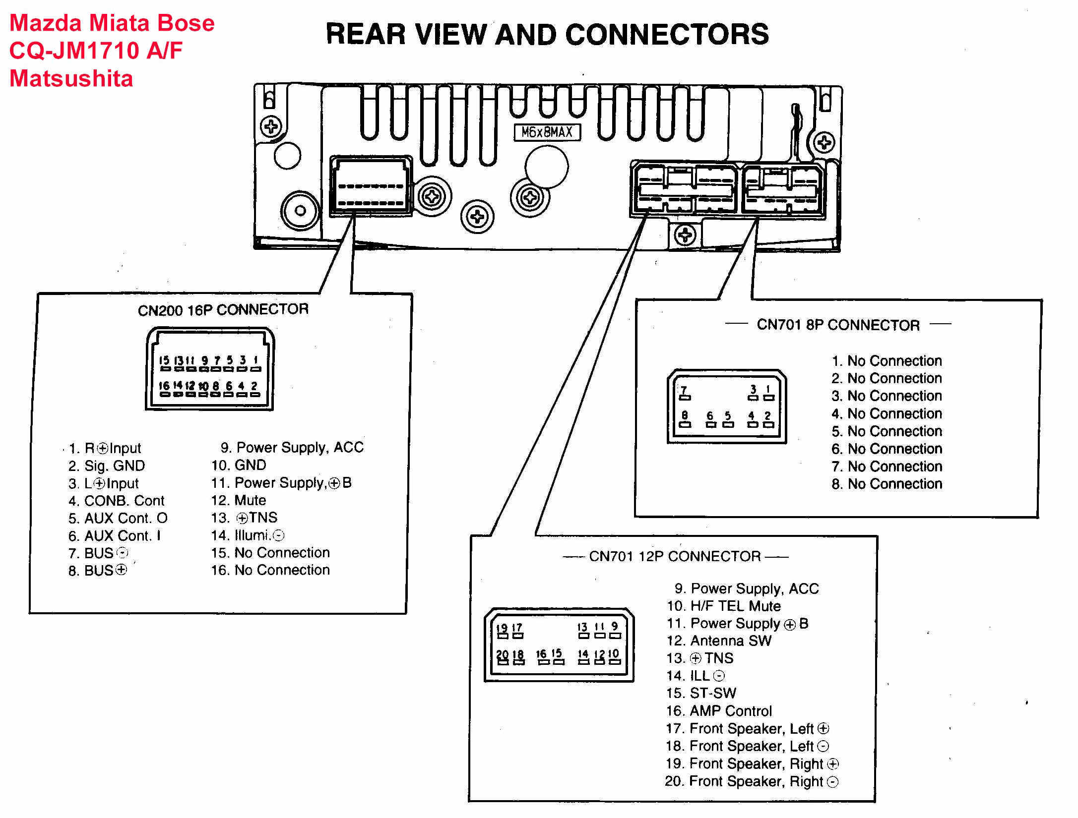 Car Audio Wire Diagram Codes Mazda - Factory Car Stereo Repair